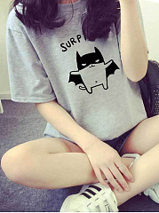 Spring Summer  Polyester  Women  Letters Short Sleeve T-Shirts