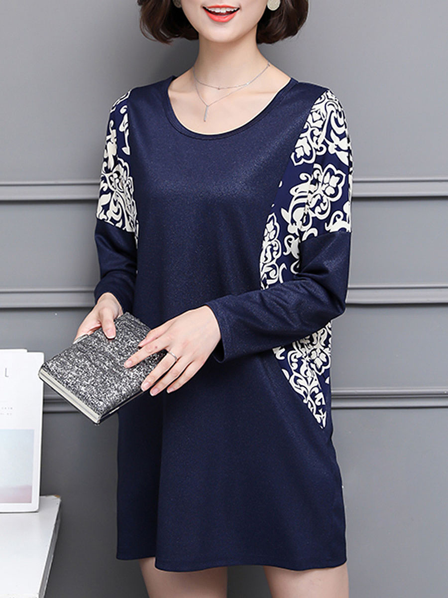 Round Neck Printed Batwing Sleeve Shift Dress