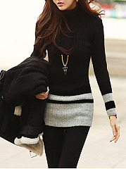Turtleneck  Color Block Pullover