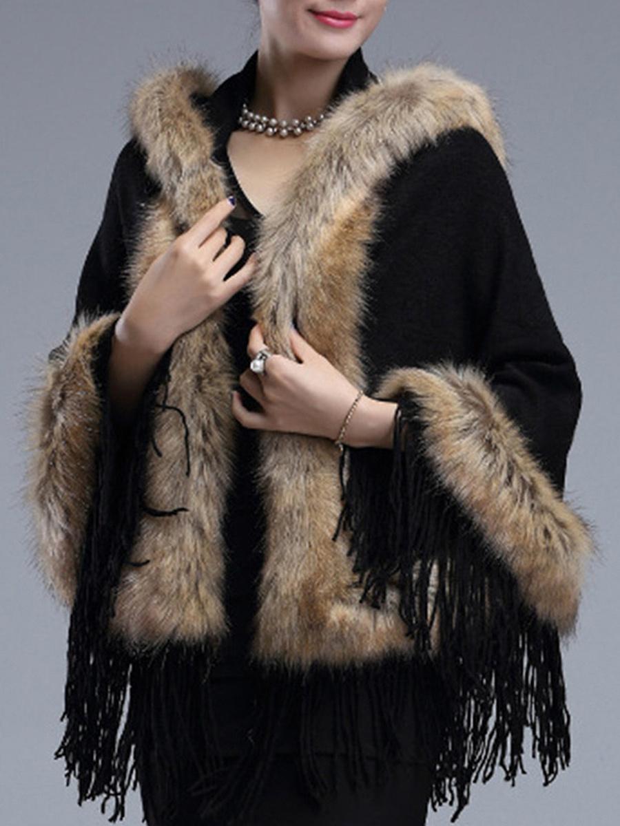 Hooded Fringe Faux Fur Trim Cape Sleeve Coat