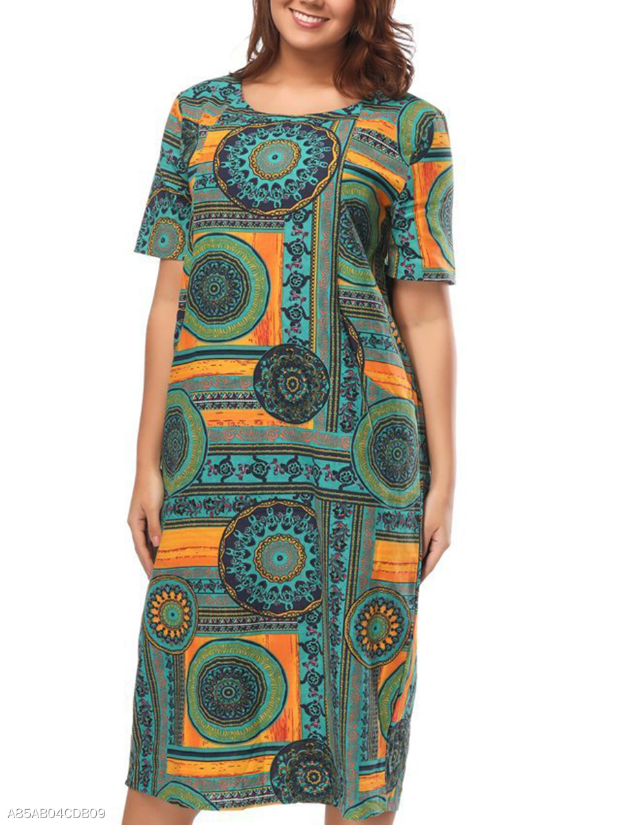 Round Neck  Abstract Print Plus Size Midi & Maxi Dress