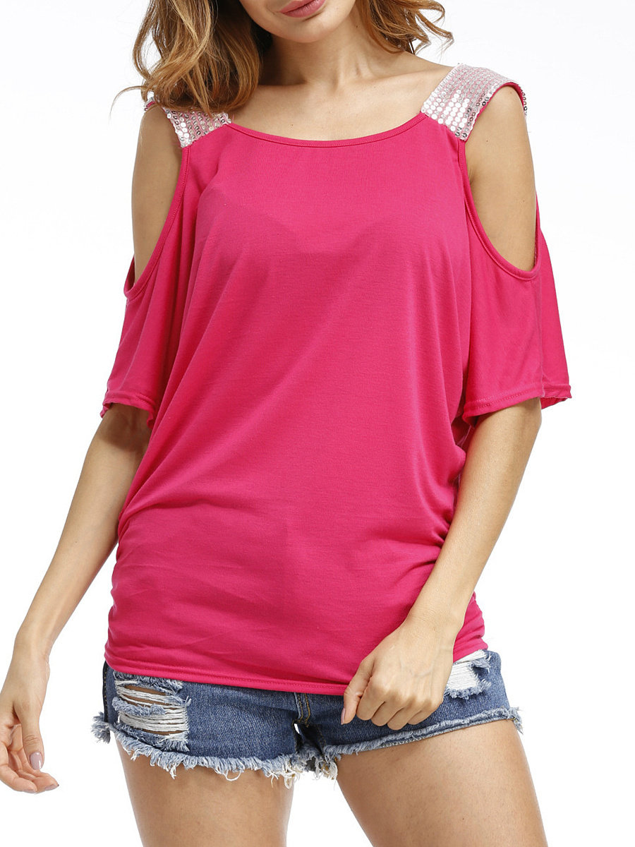 Open Shoulder  Glitter Short Sleeve T-Shirt
