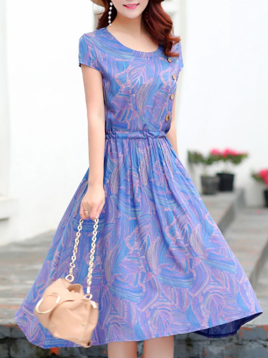 Round Neck  Decorative Buttons Drawstring  Floral Printed Maxi Dress