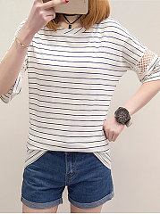 Summer  Cotton  Women  Round Neck  Hollow Out Striped Short Sleeve T-Shirts