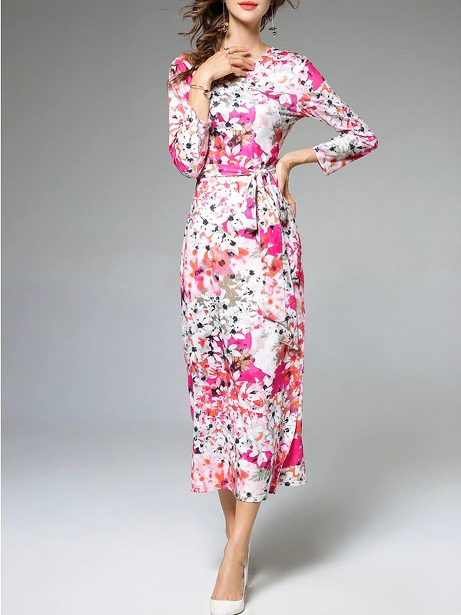 Charming V-Neck Floral Printed Bowknot Maxi Dress