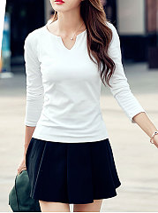 Autumn Spring  Cotton  Women  Asymmetric Neck  Plain Long Sleeve T-Shirts