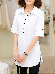 Summer  Polyester  Women  Turn Down Collar  Decorative Button  Plain  Half Sleeve Blouses