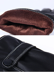 Contrast Stitching Leather Fleece Leather Gloves