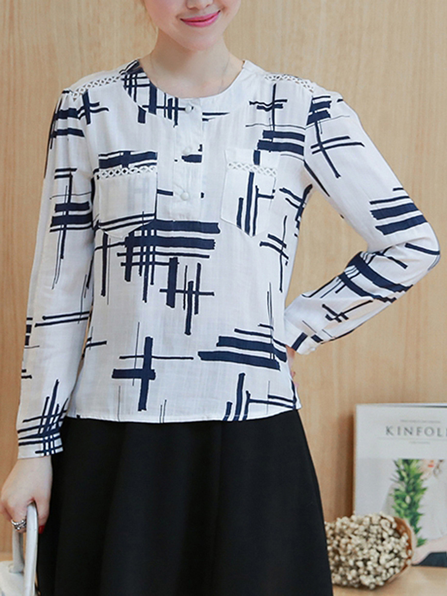 Patch Pocket Round Neck Printed Blouse