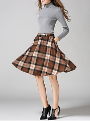 Retro Plaid Belt Woolen Flared Midi Skirt