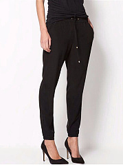 Plain Elastic Waist Pocket Slim-Leg Casual Pants