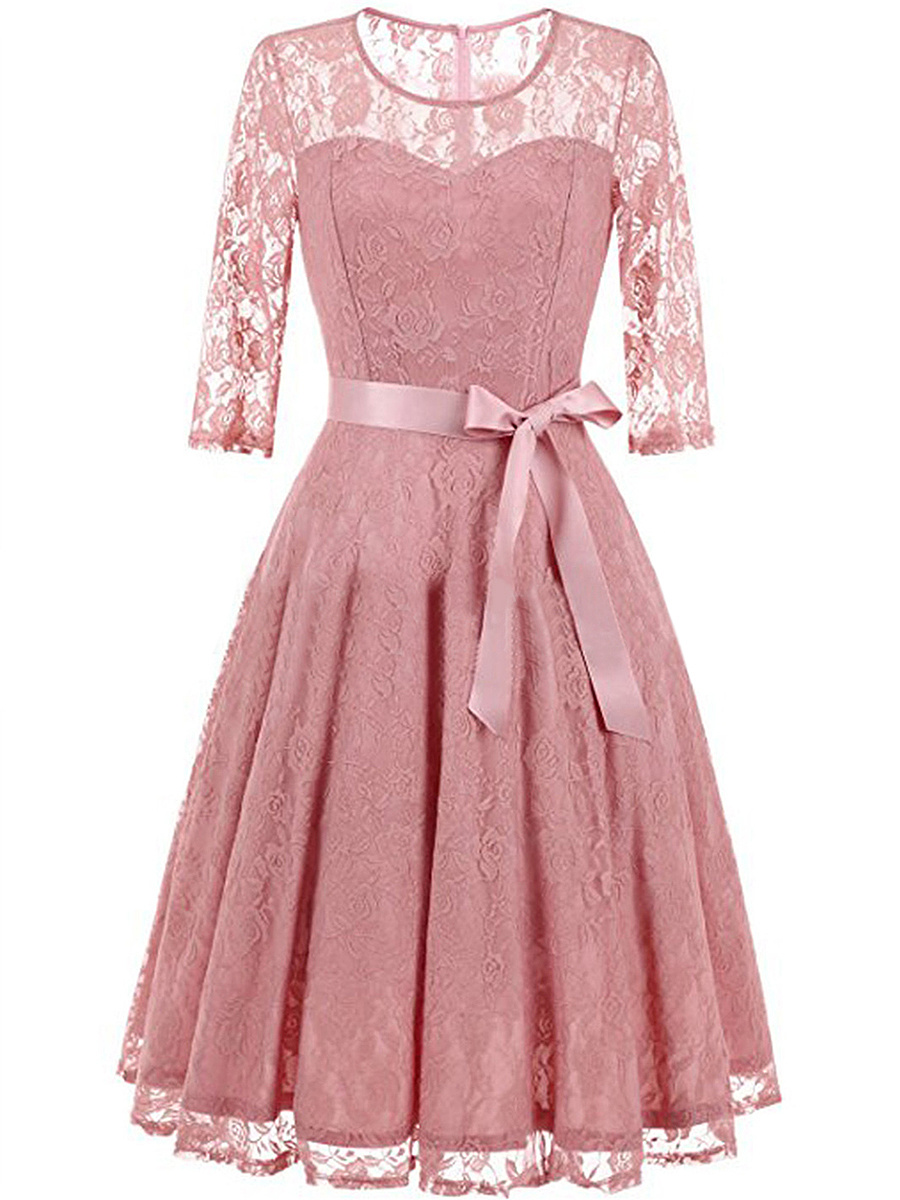 Round Neck Bowknot See-Through Plain Lace Skater Dress