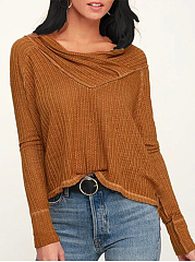 V Neck  Loose Fitting Patchwork  Plain Knit Pullover