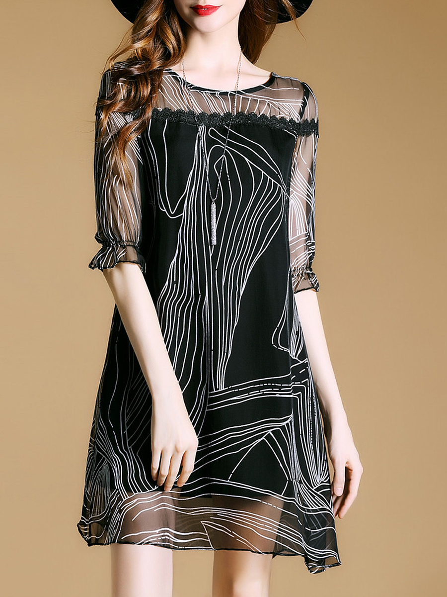 Round Neck See-Through Printed Half Sleeve Shift Dress