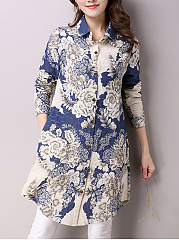 Longline Curved Hem Floral Printed Pocket Blouse