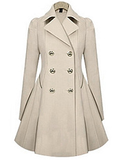 Appealing Pleated Lapel Breasted  Trench-Coat