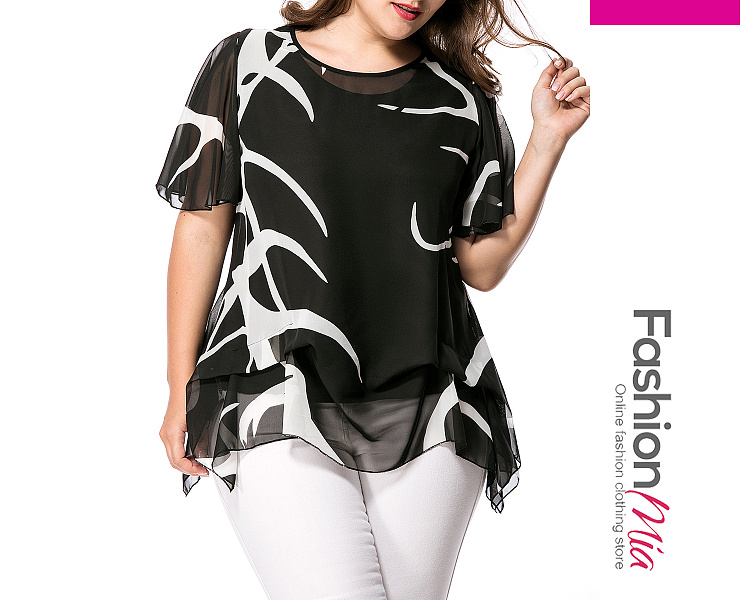 Image of Asymmetric Hem Hollow Out Printed Cape Sleeve Plus Size Blouse