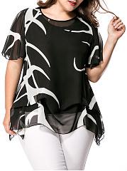 Asymmetric-Hem-Hollow-Out-Printed-Cape-Sleeve-Plus-Size-Blouse