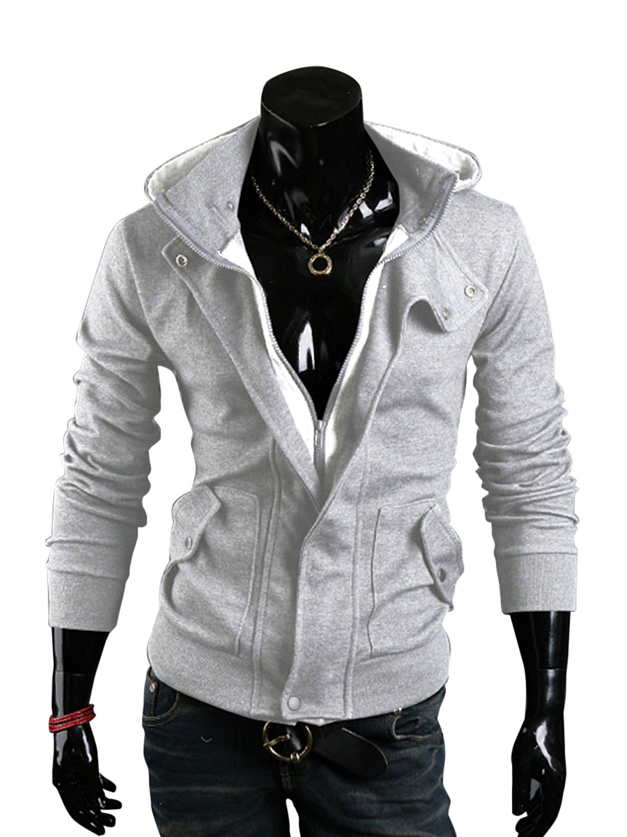 Patch Pocket Fitted Casual Plain Men Hoodie