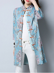 Band Collar  Floral  Long Sleeve Trench Coats