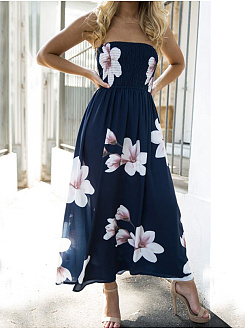Off Shoulder  Side Slit  Printed Maxi Dress