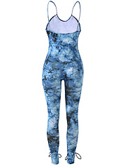 Sexy Lace-Up Hollow Out Tie/Dye Spaghetti Strap Slim-Leg Jumpsuit