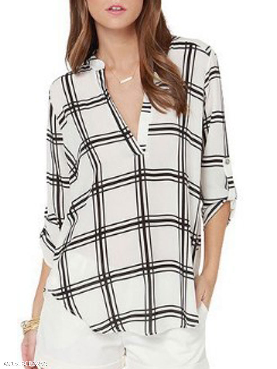 Spring Summer  Polyester  Women  V-Neck  Asymmetric Hem  Plaid  Three-Quarter Sleeve Blouses