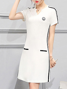 Sweet Heart  Contrast Trim  Plain Shift Dress
