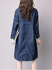 Round Neck Denim Plain Pocket Shift Dress