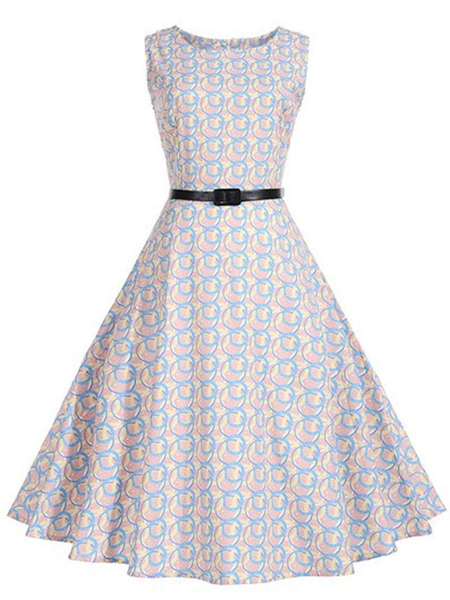 Round Neck Belt Multi-Color Circle Printed Skater Dress