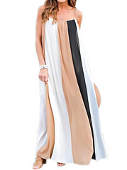 Spaghetti Strap  Color Block Maxi Dress