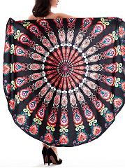 Colorful Tribal Printed Round Beach Shawl