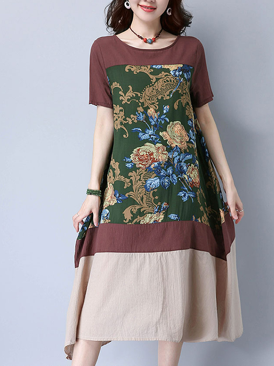 Round Neck Color Block Floral Printed Loosemaxi Dress