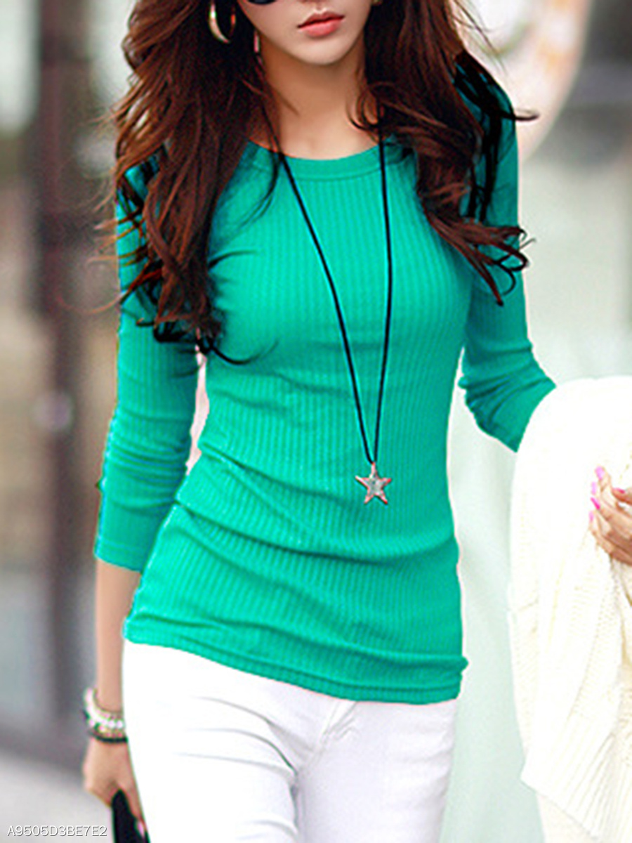 Fitted Round Neck Plain Long Sleeve T-Shirt