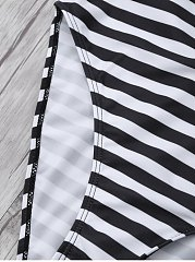Low Back Textured Striped Swimwear