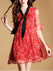 V-Neck Hollow Out Printed Bell Sleeve Shift Dress