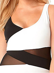 See-Through  Striped Plus Size One Piece