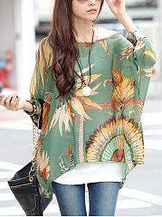 Chiffon See-Through Printed Batwing Sleeve Tunic