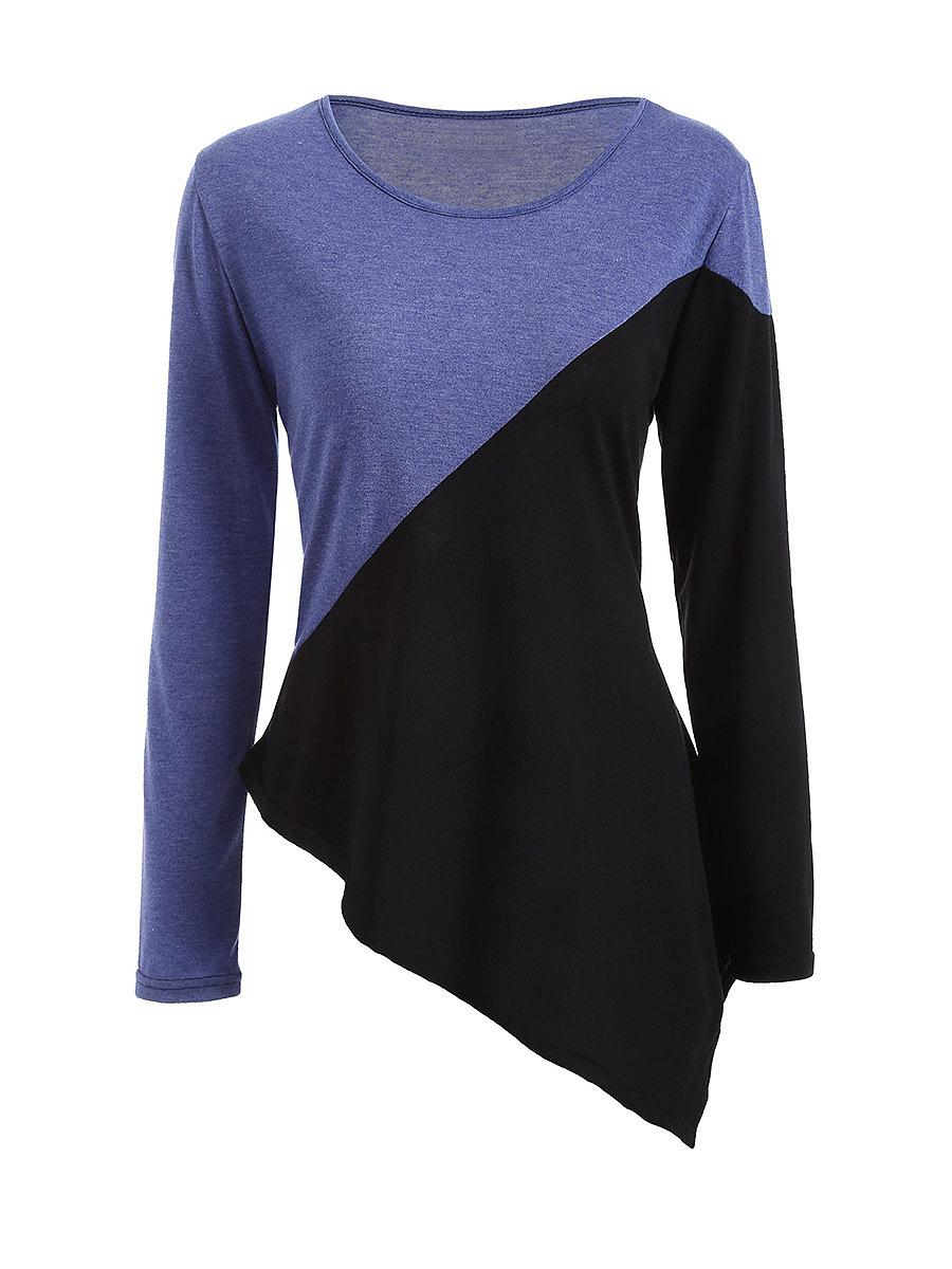 Color Block Asymmetric Hem Round Neck Long Sleeve T-Shirt
