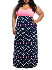 Round Neck  Geometric Printed Plus Size Midi & Maxi Dresses