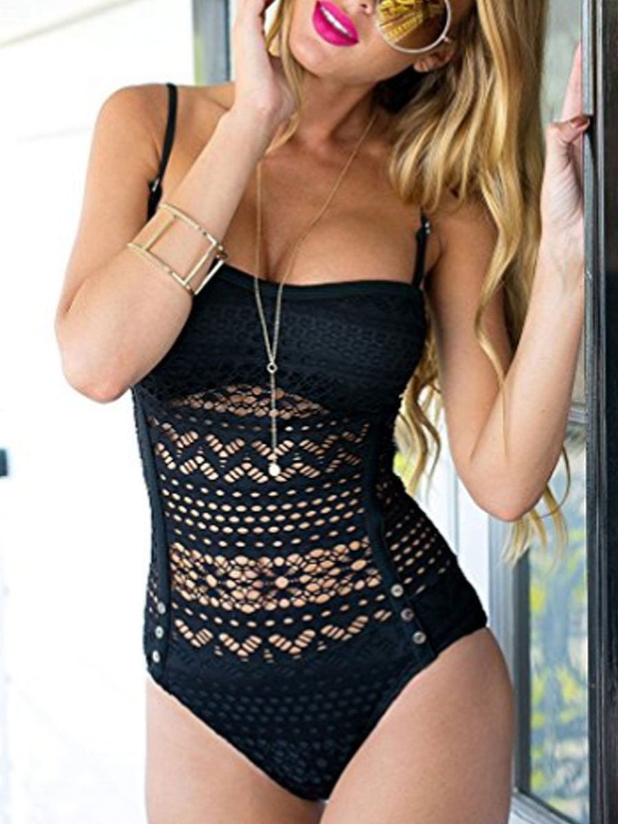 Sexy Decorative Lace  Hollow-Out Plain One Piece For Women