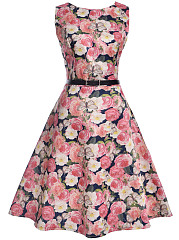 Floral Printed Round Neck Belt Skater Dress