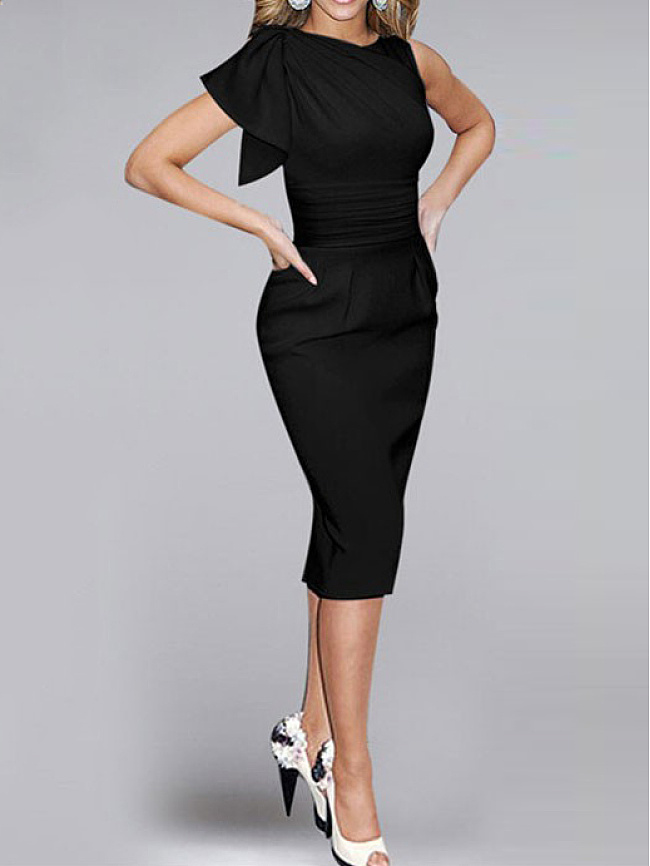 Fashionmia Crew Neck  Plain Bodycon Dress