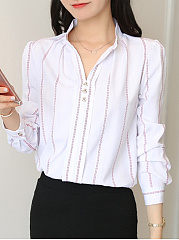 Autumn Spring  Polyester  Women  Band Collar  Decorative Button  Striped  Long Sleeve Blouses