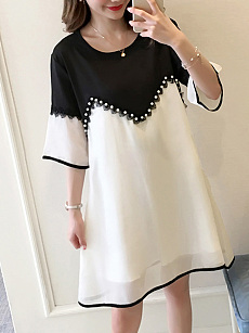 Round Neck  Beading Patchwork  Color Block Shift Dress