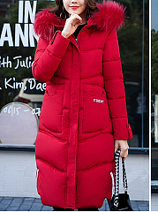 Hooded  Slit Pocket Zips  Decorative Button  Letters Plain  Long Sleeve Coats