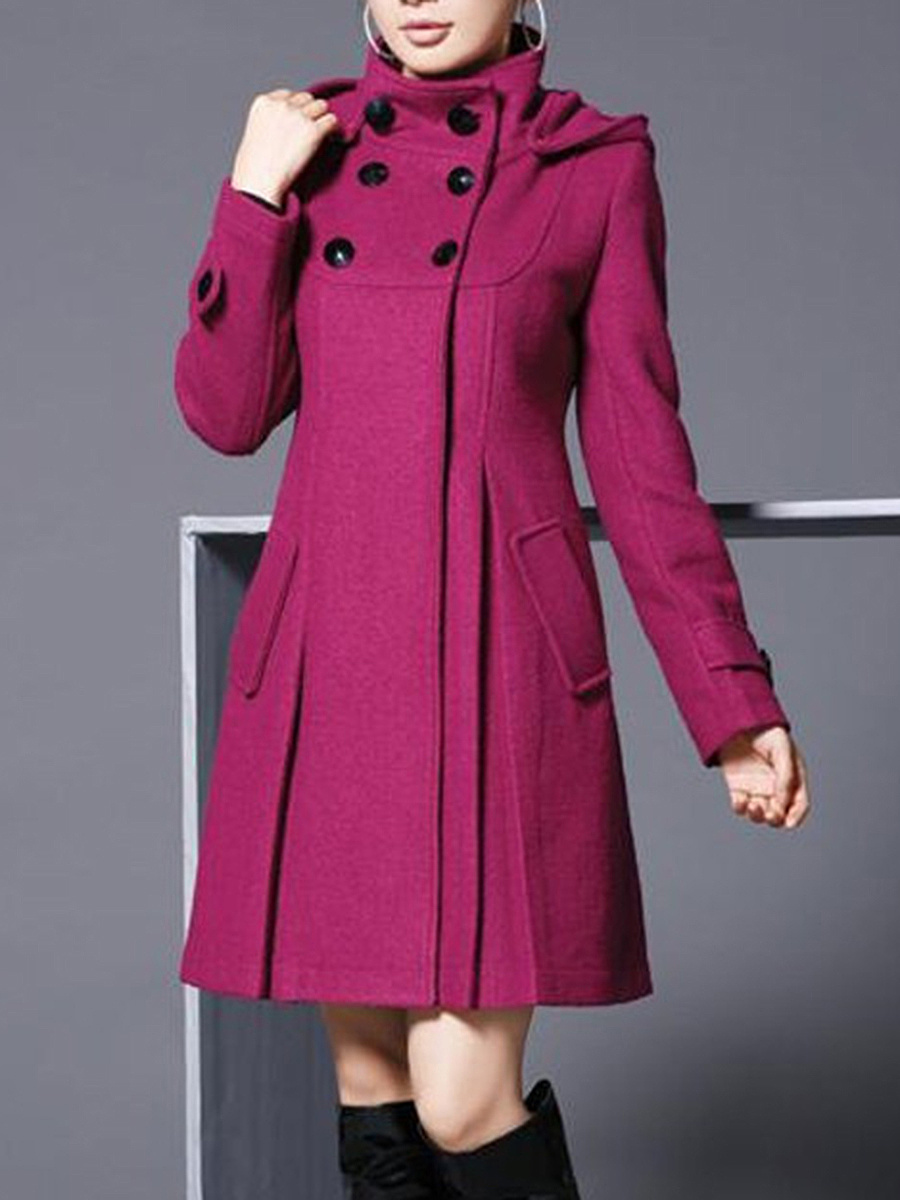 Hooded Double Breasted Flap Pocket Woolen Plain Coat