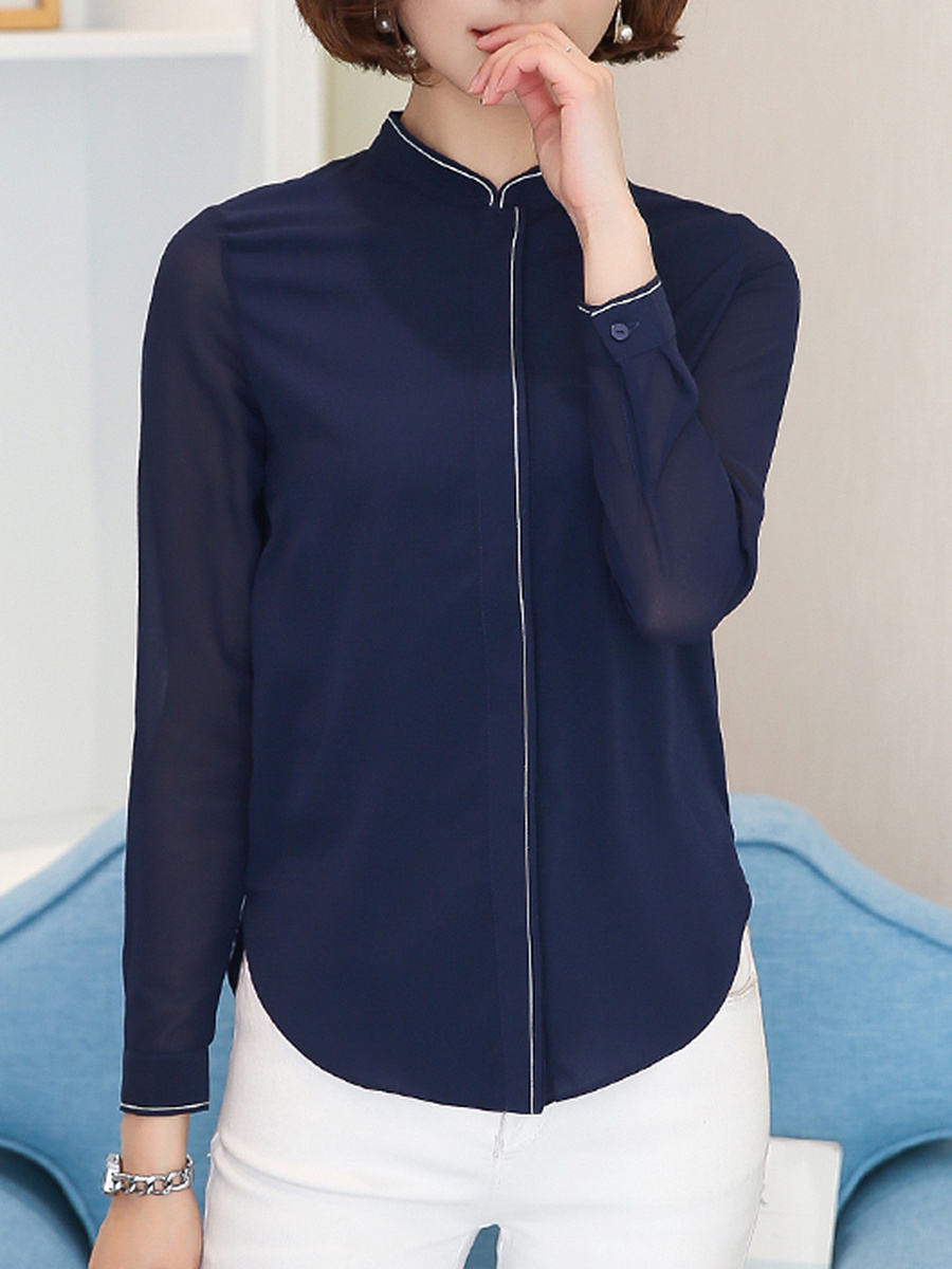 Band Collar  Contrast Trim  Hollow Out Blouse