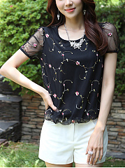 Round Neck Patchwork Embroidery Blouse