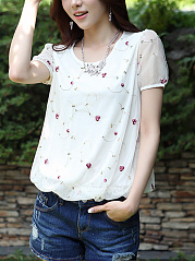 Round Neck  Patchwork  Embroidery Blouses